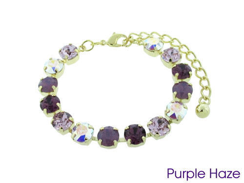 Purple Haze color collection shown on the 8.5mm 14 box bracelet in gold overlay