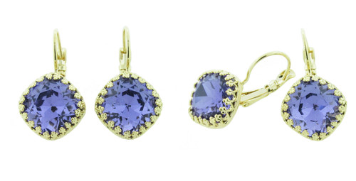 12mm Square Crown Drop Earrings in Gold Overlay