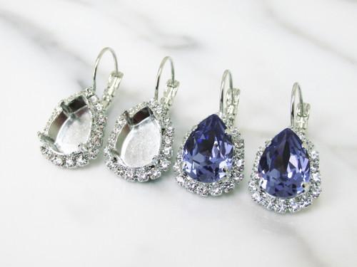 14mm x 10mm Pear | Crystal Halo Drop Earrings | One Pair