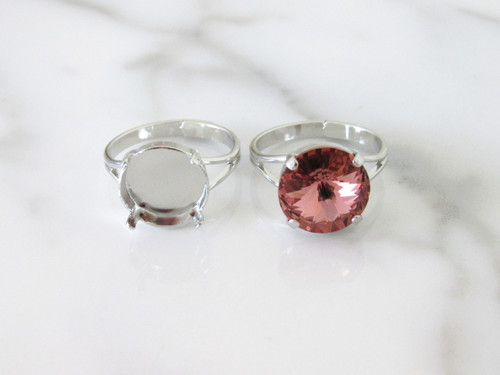 12mm Round   Classic Band Adjustable Ring   Three Pieces