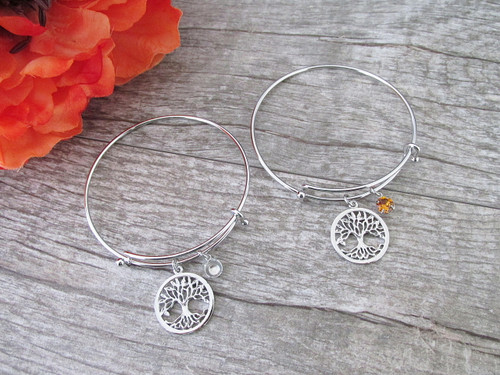6mm | Small Tree Of Life Charm Bangle Bracelet | One Piece