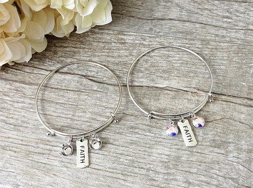 Faith Charm With Two 8.5mm (39ss) Empty Settings On An Expandable Bracelet