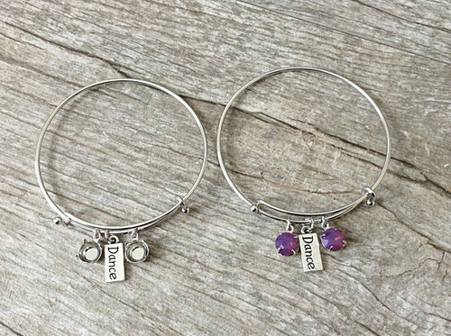 Dance Charm With Two 8.5mm (39ss) Empty Settings On An Expandable Bracelet