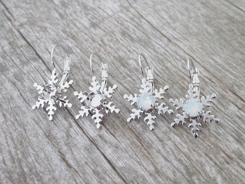 6mm | Snowflake Drop Earrings | One Pair