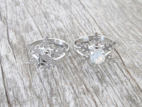 6mm   Snowflake Classic Band Adjustable Ring   One Piece