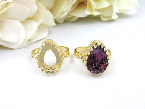 14mm x 10mm Pear | Crown Adjustable Ring | One Piece
