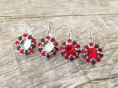 8.5mm | Red & Purple Crystal Halo Earrings | One Pair - Limited Edition