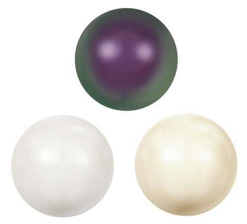 11mm | Glass Faux Pearl Cabochons | 12 Pieces