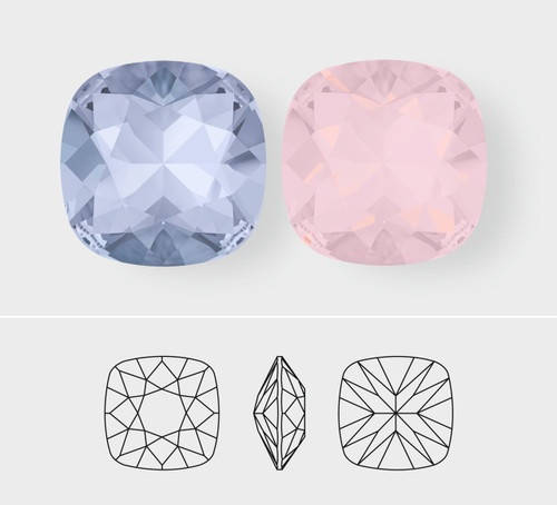 12mm | Square Cushion Cut | Swarovski Article 4470 | 3 Pieces