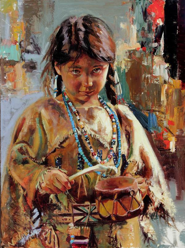 Little Drummer Girl Original Oil Study (SOLD)