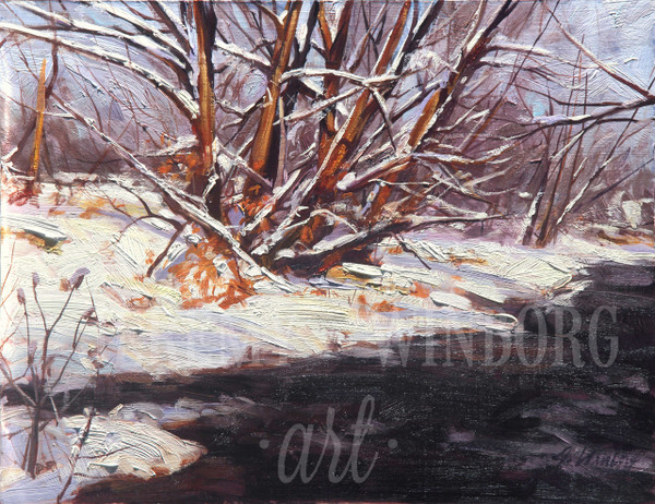 Winter Willows Original Oil Study