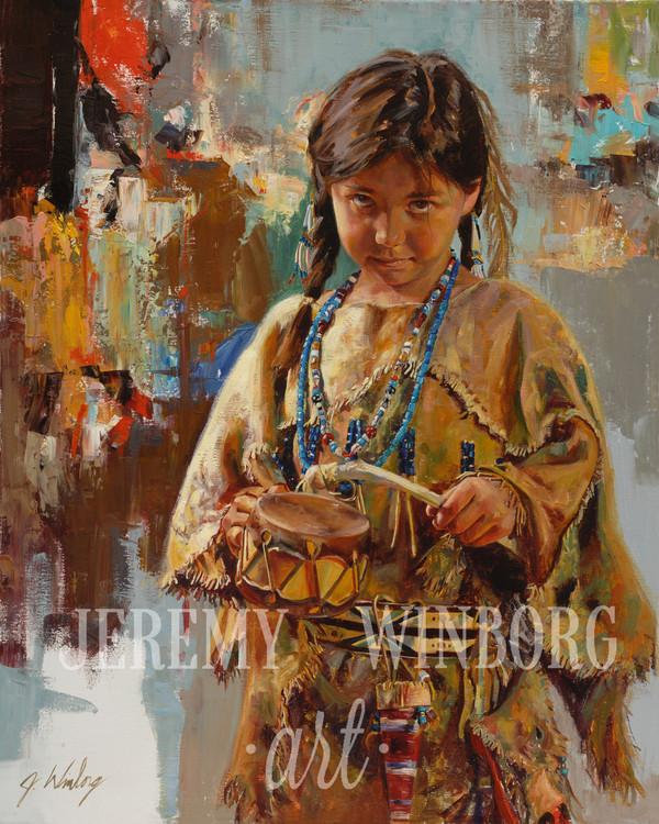 Little Drummer Girl Portrait Giclée Print