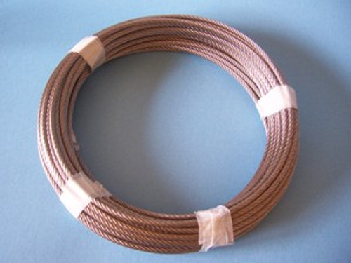 """316 Stainless Steel Wire Rope, 1/4"""", 7x19, 50 ft"""