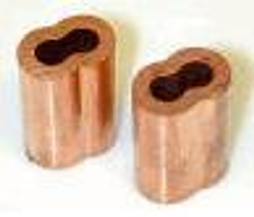 "Copper Swage Sleeve for Wire Rope 1/8"", 100 pieces"