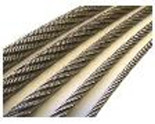 """304 Stainless Steel Wire Rope 1/8"""", 7x19, by the foot"""