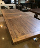 Distressed Farmhouse Trestle Dining Table & Bench