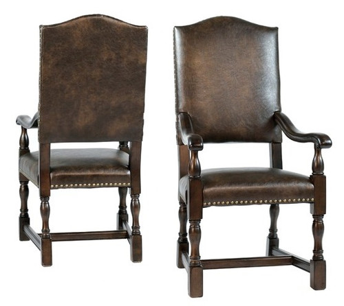 Dark Brown Leather Arm Dining Chair