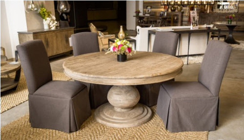 "Rustic 60"" Round Pedestal Dining Table - Reclaimed wood"