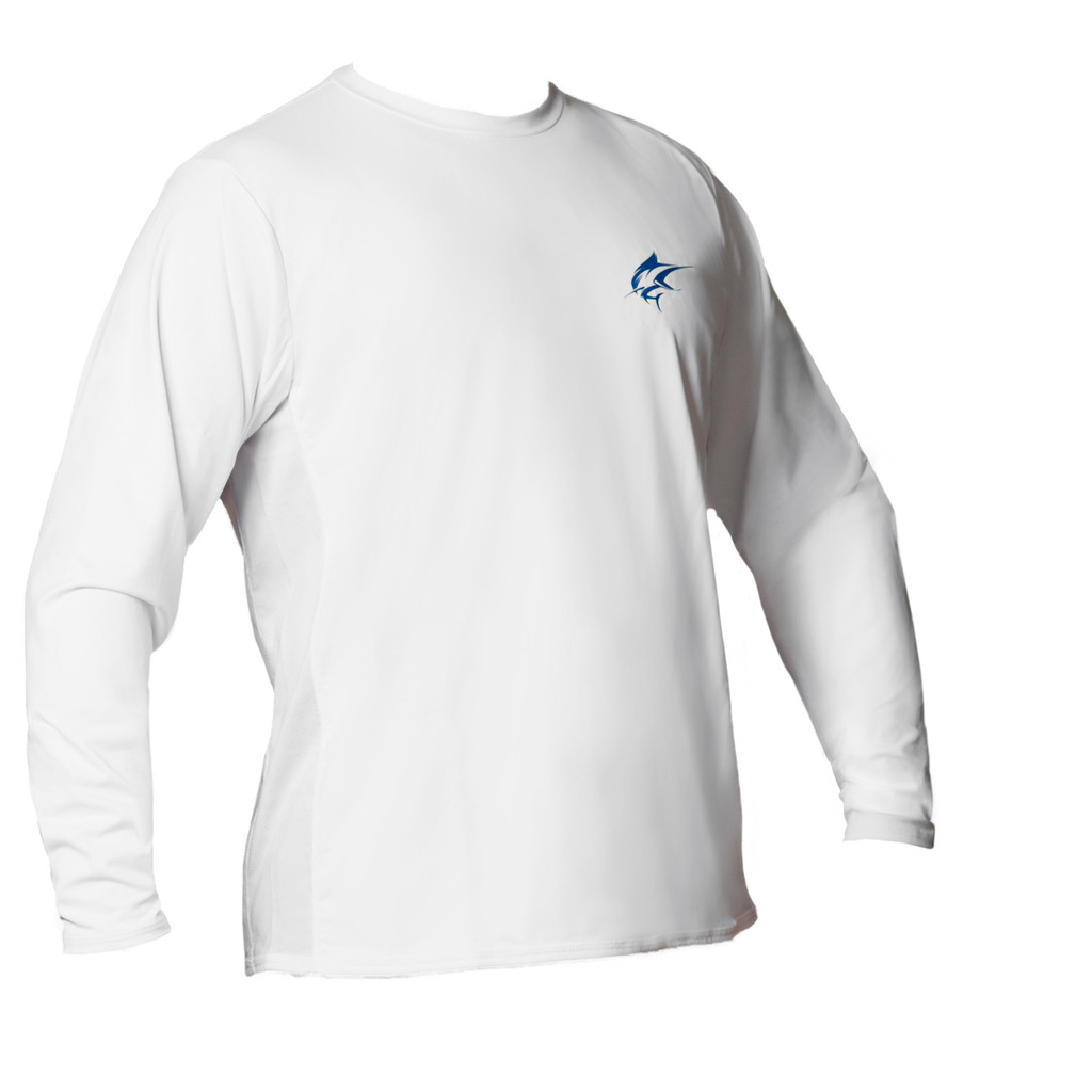 Ocean Rider Sun Protective Clothing | Men's Performance UPF 50 Side Vented Shirt | White | Front | Made in USA