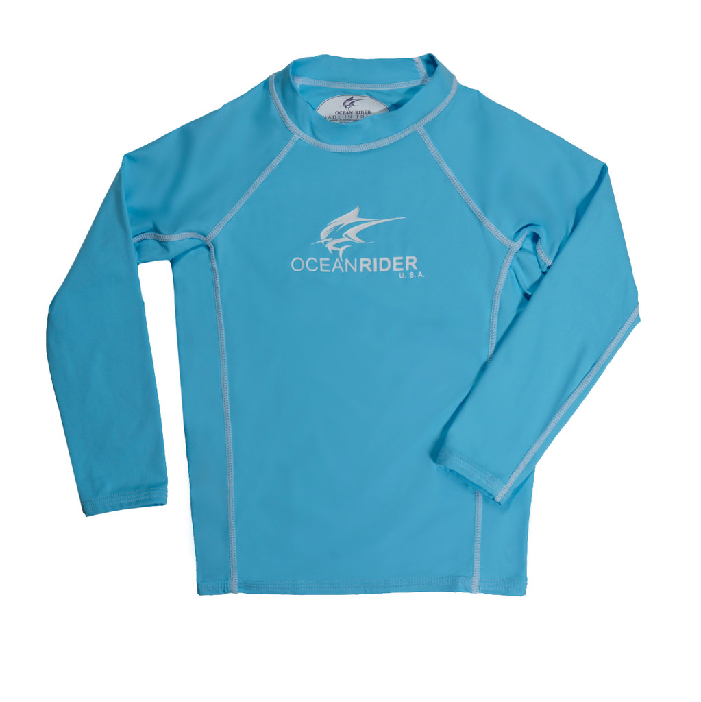 Ocean Rider SPF 50 Ice Blue Long Sleeve Shirt for Kids -UPF 50 Kid's Shirt - Made in the USA