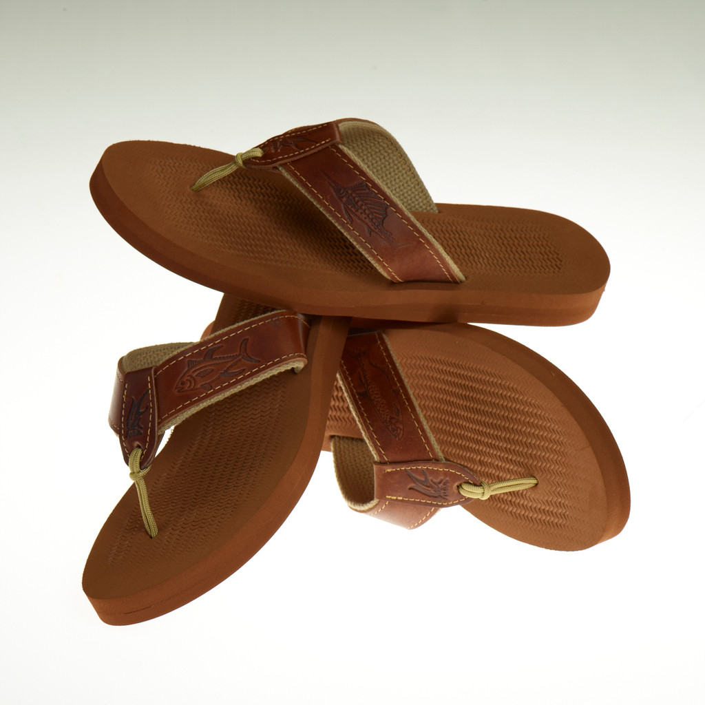 Women's Non-Skid Rubber Sandals with Embossed Leather Ribbon Design