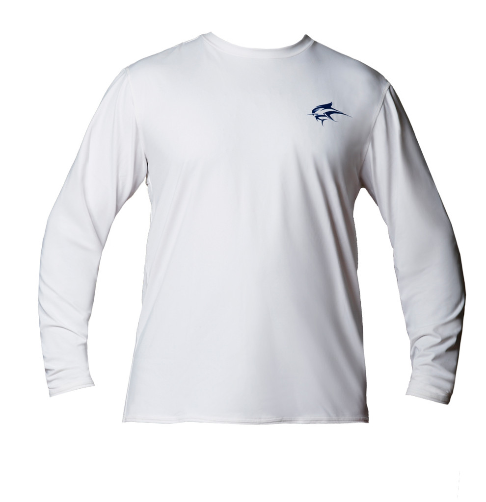Ocean Rider Sun Protective Clothing | Men's Performance UPF 50 Back Vented Shirt | White | Shirt Front | Made in USA