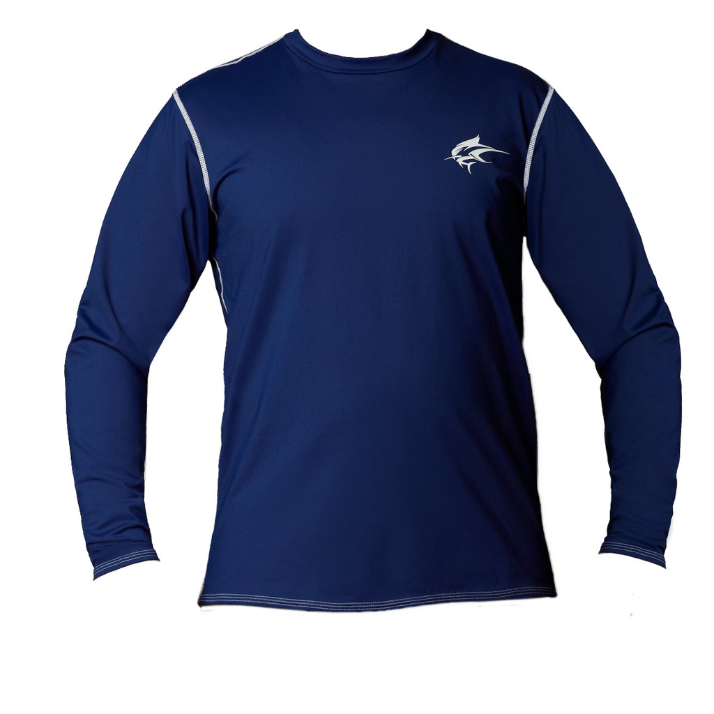 Ocean Rider Sun Protective Clothing | Men's Performance UPF 50 Back Vented Shirt | Navy | Shirt Front | Made in USA