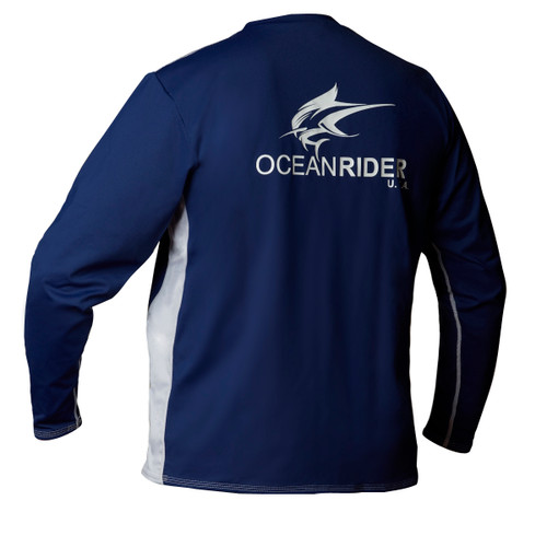 Ocean Rider Sun Protective Clothing | Men's Performance UPF 50 Side Vented Shirt | Navy | Back | Made in USA