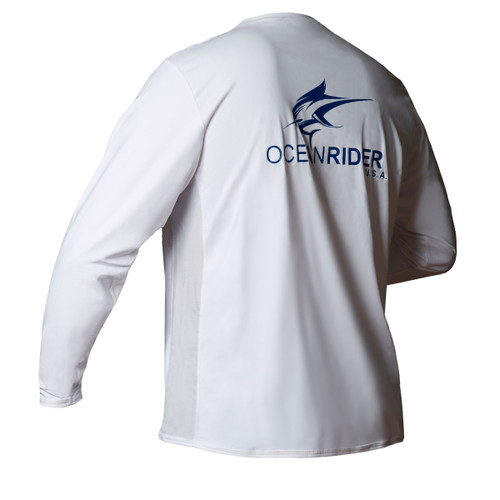 Ocean Rider Sun Protective Clothing | Men's Performance UPF 50 Side Vented Shirt | White | Back | Mad in USA