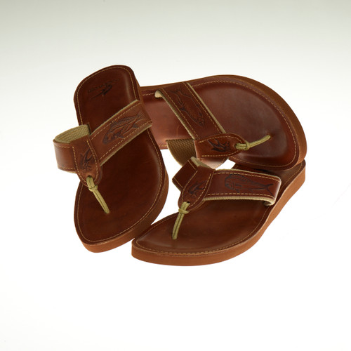 Men's Leather Sandals with Embossed Leather Design