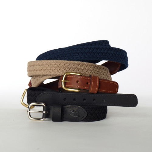 "Ocean Rider Handmade Woven Cotton Belts - Black, Navy, Khaki - Sizes 24"" to 52"""