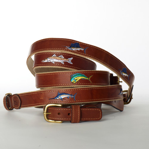 Ocean Rider Handmade Leather Embroidered Belts with Fish Design