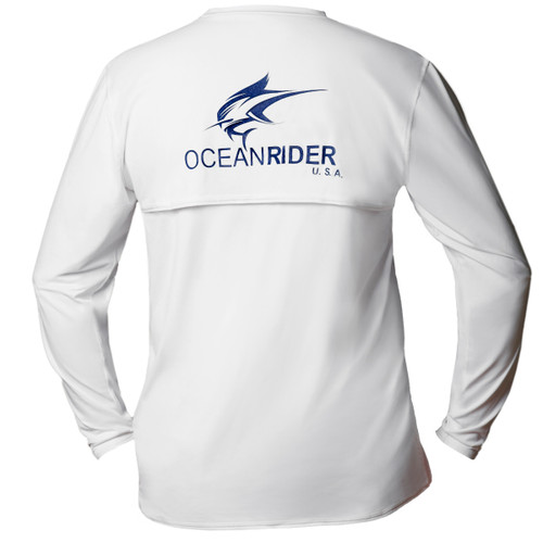Ocean Rider Sun Protective Clothing | Men's Performance UPF 50 Back Vented Shirt | White | Shirt Back | Made in USA