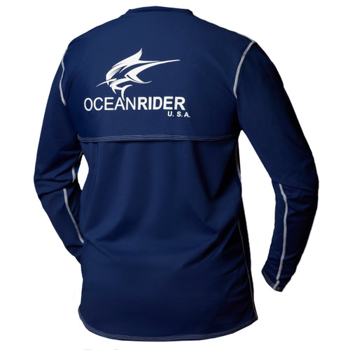Ocean Rider Sun Protective Clothing | Men's Performance UPF 50 Back Vented Shirt | Navy | Shirt Back | Made in USA