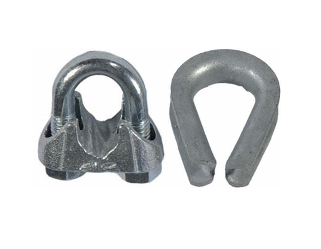 HarborWare Clamp & Thimble Set, Galvanized Steel 1/4-in