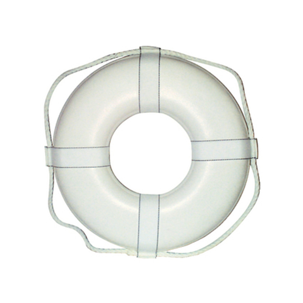 """Cal-June G Style Life Ring Buoy w/ Straps, 19"""", White"""