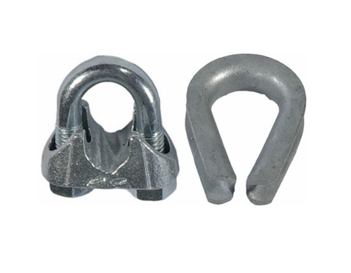 HarborWare Clamp & Thimble Set, Galvanized Steel 1/4-in
