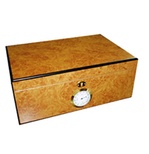 Humidor natural polished wood - exterior