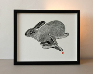 Running Hare Lino Print