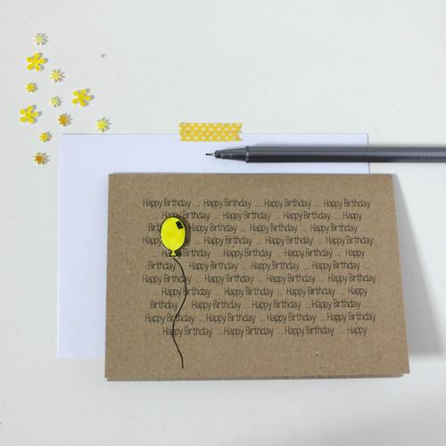Handmade Happy Birthday Card Balloon