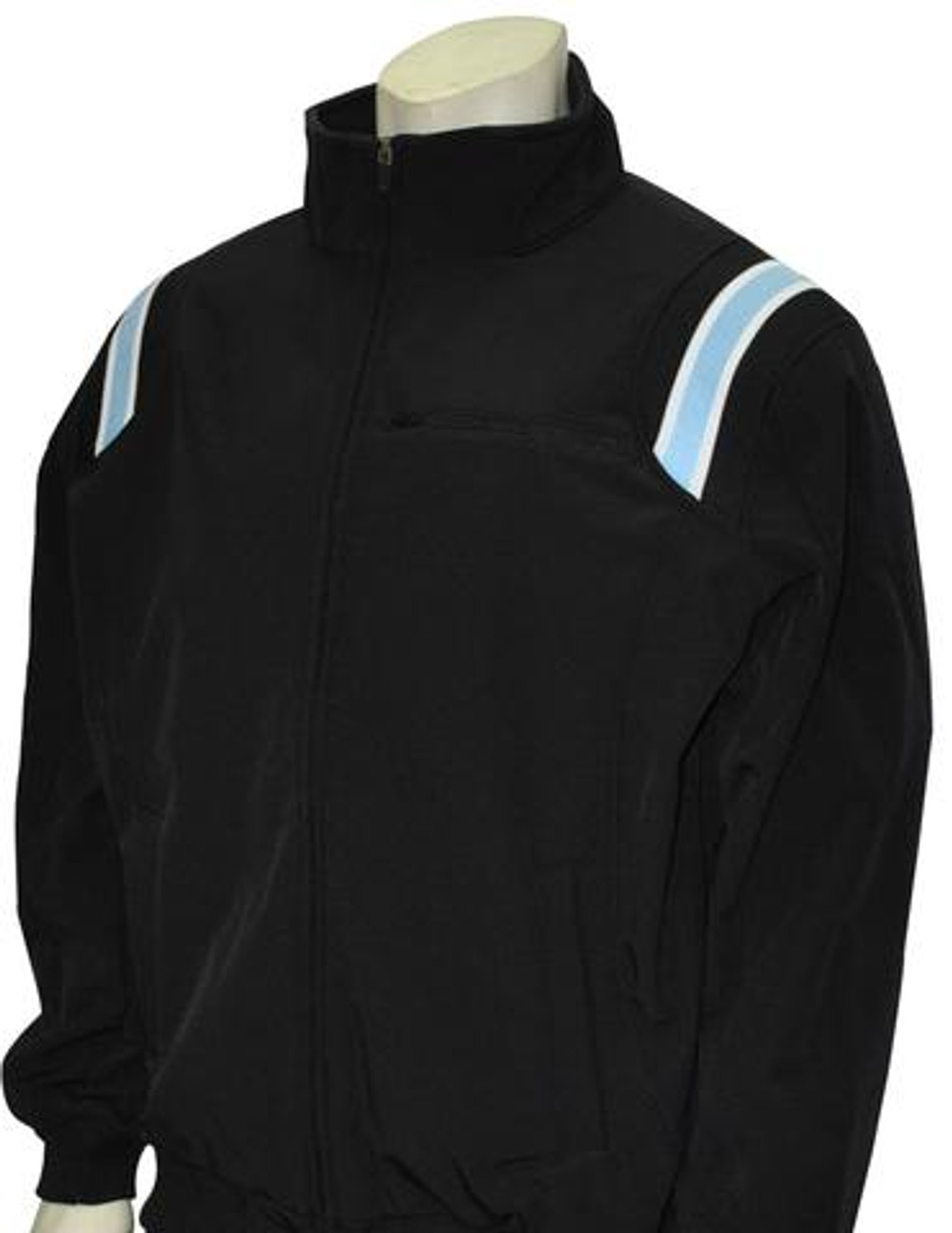 Black Therma Base Umpire Jacket with Columbia Blue and White Trim