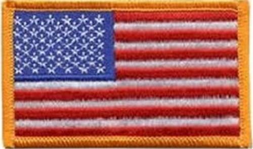 U.S. Flag Left Sleeve Dark Gold Border