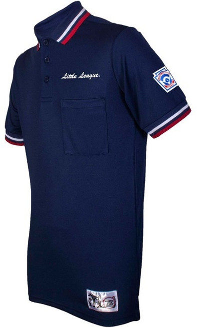 Little League Navy Umpire Shirt with Red and White Trim