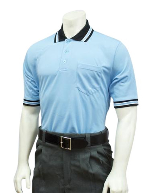 Smitty Powder Blue with Black Collar Ultra Mesh Umpire Shirt