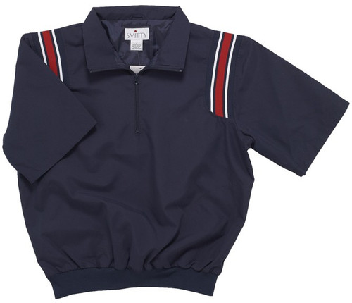 Smitty Half Sleeve Umpire Pullover with Red and White Shoulder Stripes