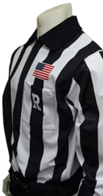 """Smitty Dye Sublimated Long Sleeve 2 1/4"""" Stripe Football Referee Shirt with Placket"""
