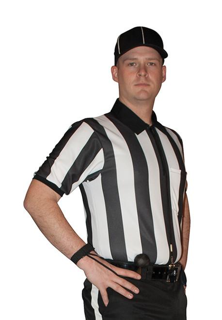 """Cliff Keen Short Sleeve 2"""" Stripe Ultra-Mesh Football Referee Shirt"""