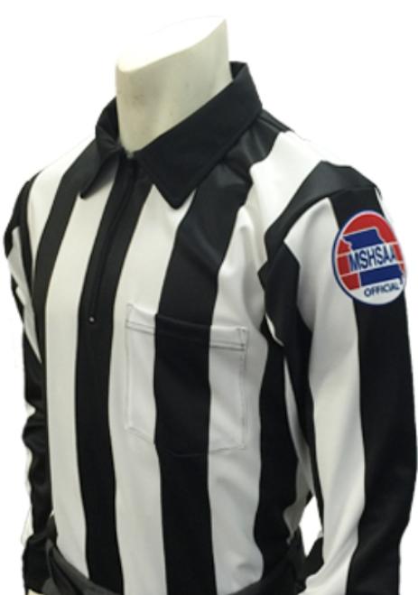 "Smitty Missouri  MSHSAA 2 1/4"" Stripe LS Football Referee Shirt"