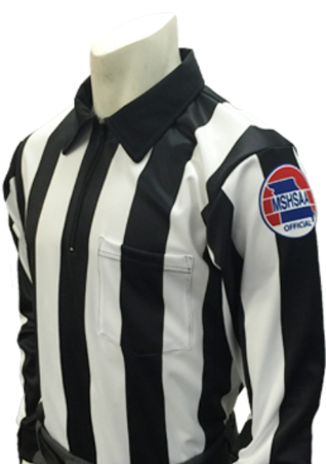 "Missouri  MSHSAA 2 1/4"" Stripe Long Sleeve Football Referee Shirt"