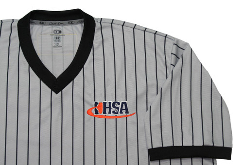 Illinois IHSA Cliff Keen Gray Pinstripe Wrestling Referee Shirt Extra Tall